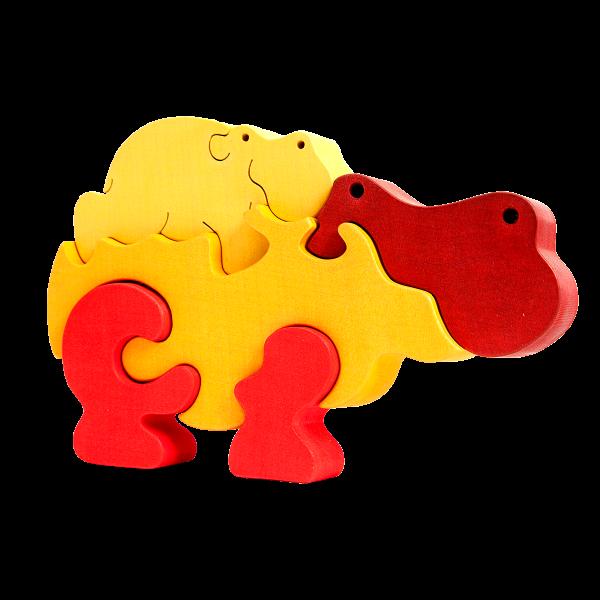 Nijlpaardfamilie oranje – Fauna speelgoed